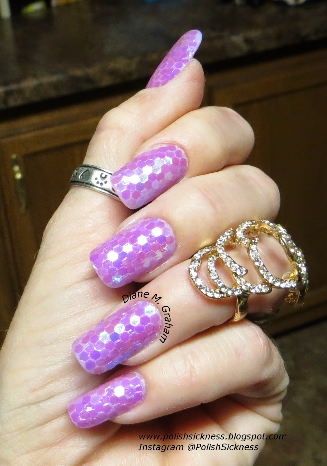 Purple hexagon sequin glequin glitter mani
