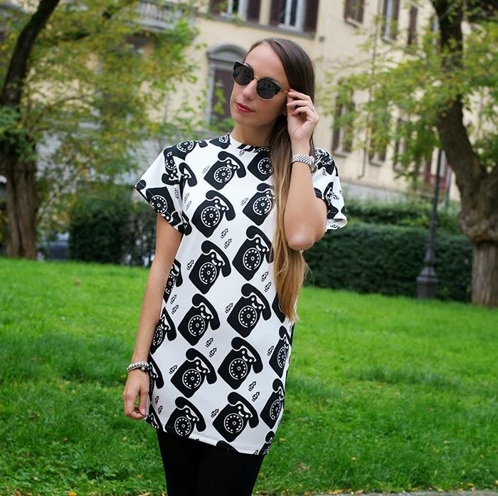 mini dress bianco e nero