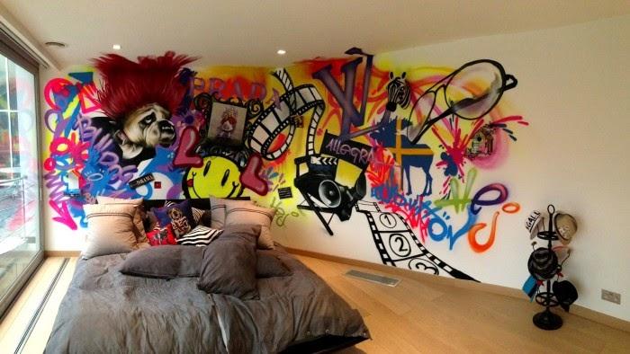 Decoração de paredes em casa com graffiti