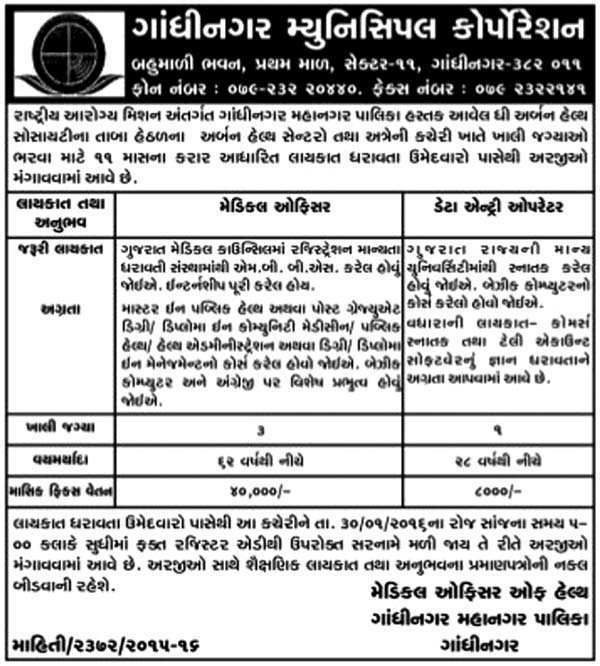 Gandhinagar Municipal Corporation Recruitment 2016