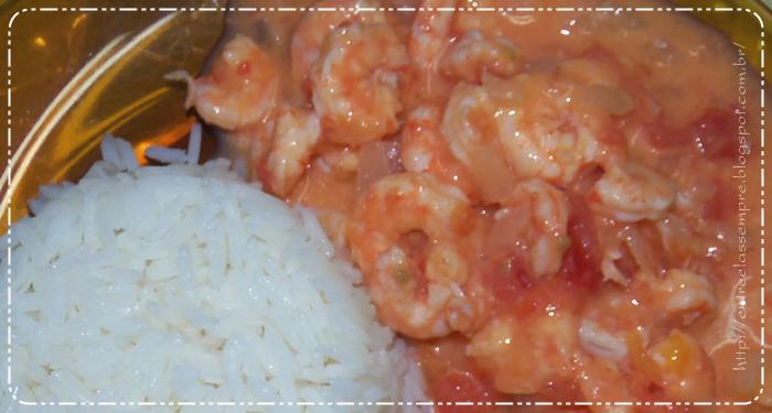 Camarão com Catupiry e arroz
