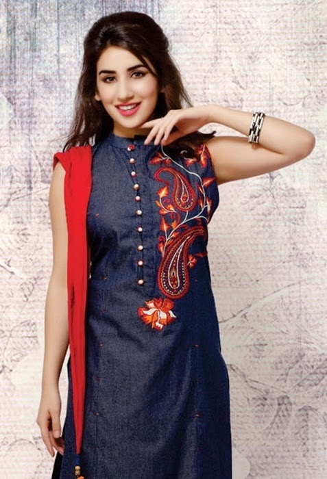 Denim Embroidered Salwar Kameez Denim Anarkali Suits Girls Denim