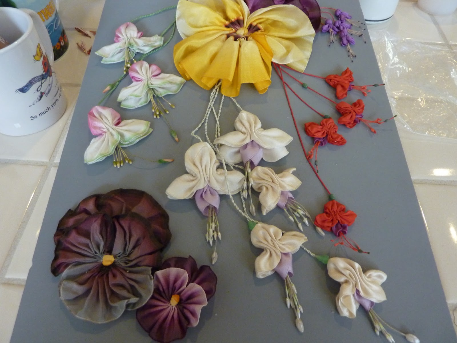 Artful play candace kling ribbon flower class yesterday i spent a wonderful day taking one of candace klings amazing ribbon flower classes we focused on fuchsias and pansies izmirmasajfo