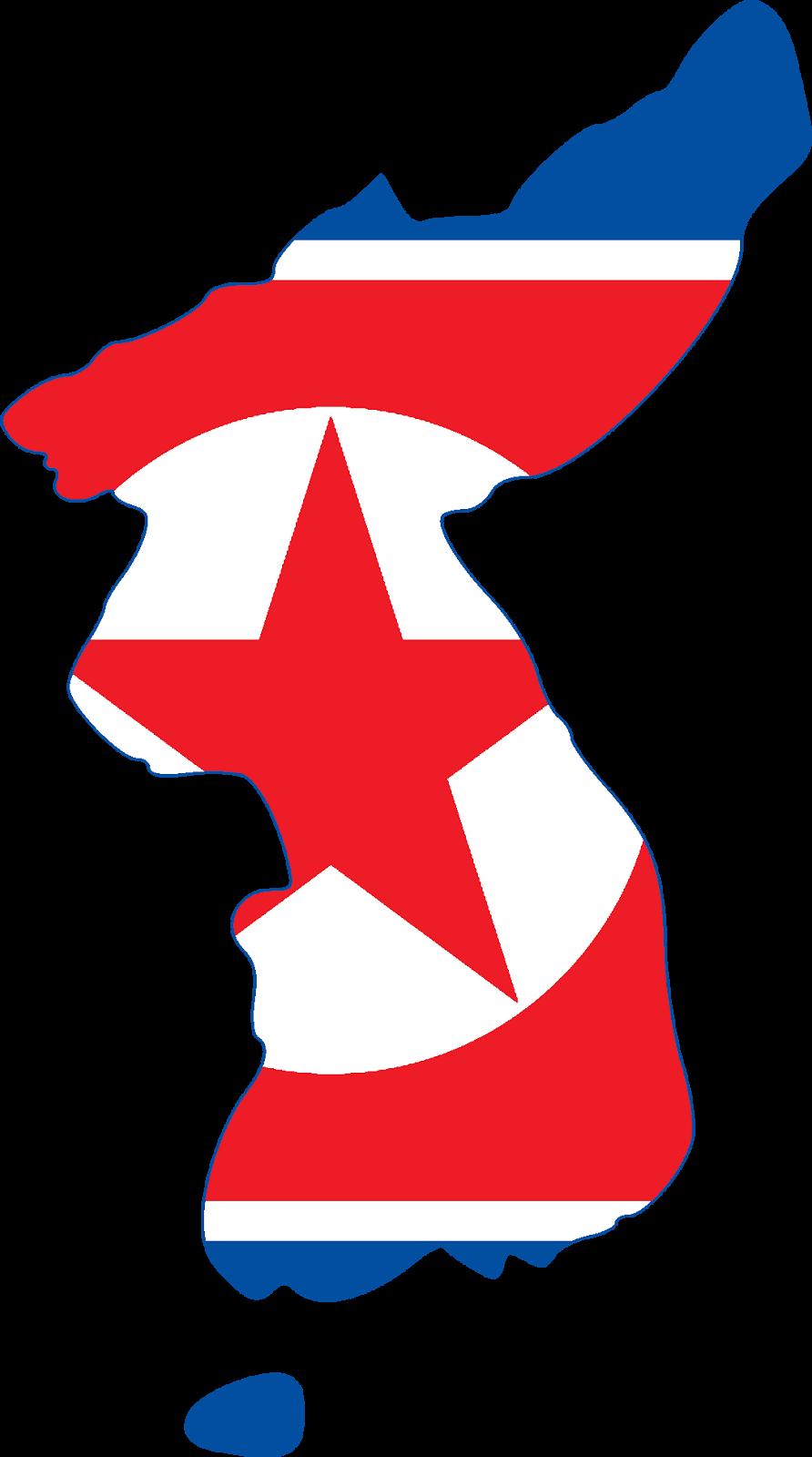 North Korea Map And Flag - North korea map
