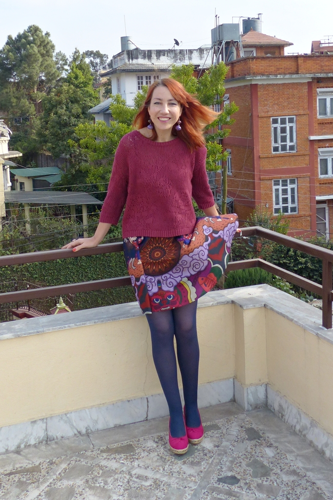 Vietnamese printed mini skirt and knit top