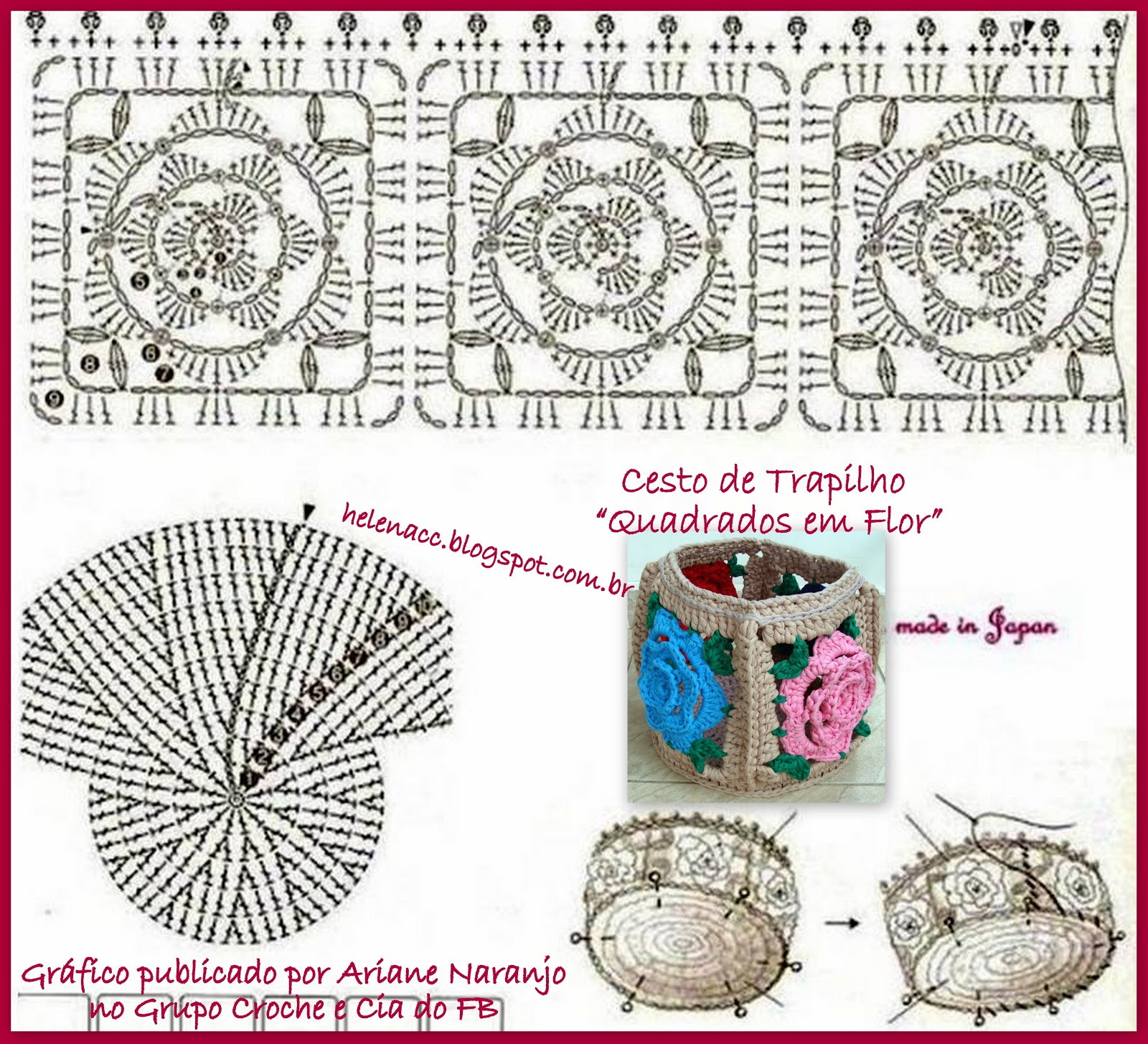 Корзинка схема вязания из трикотажа крючком