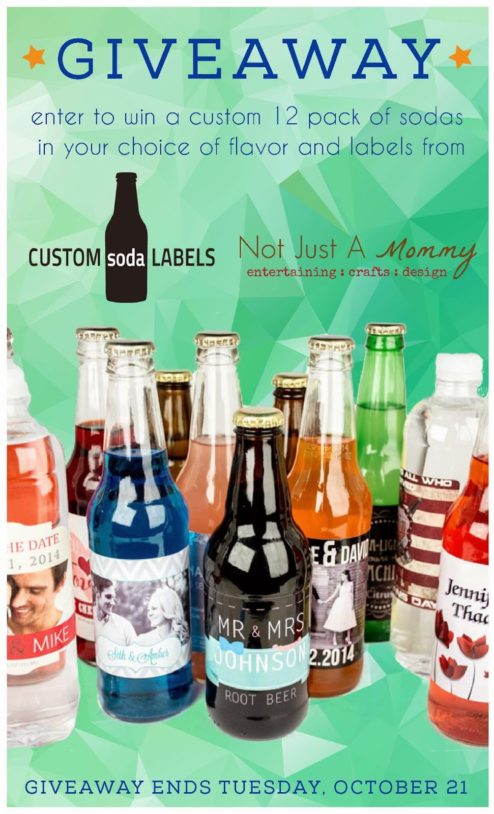 Enter to win a 12-pack of @CustomSoda in your choice of label and flavor; giveaway ends October 21