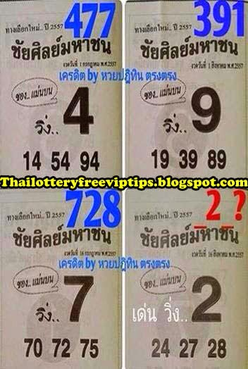 Thai lottery Magazine Single Digit 16-08-2014
