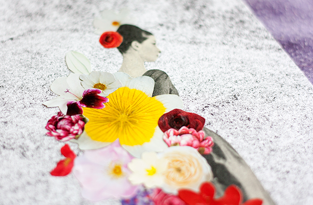 close up photo of collage with vintage black and white woman with flowers on grainy monoprint background