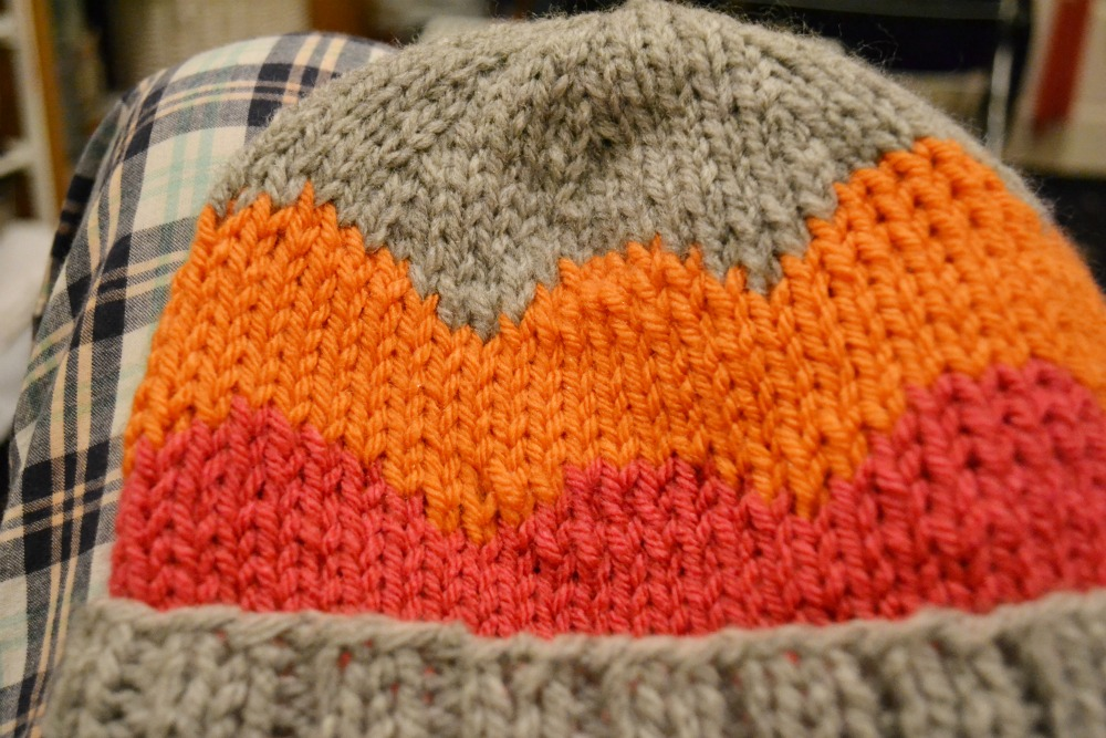 scallop knitted hat chunky grey pink orange