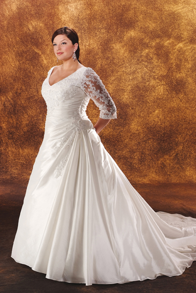 Plus size wedding gowns with sleeves enter your blog for Wedding dresses for plus size mature brides
