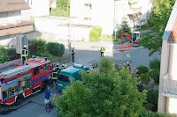 Feuerwehr in der Göthestrasse in Friedrichshafen, wegen eines Bombenalarms