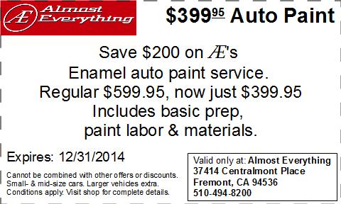 Coupon $399.95 Car Paint Sale December 2014