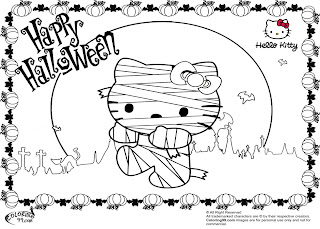 hello kitty mummy halloween coloring pages