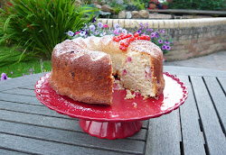 redcurrant, rose and raspberry bundt cake