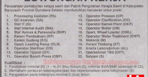 Lowongan Kerja Ob Di Palembang