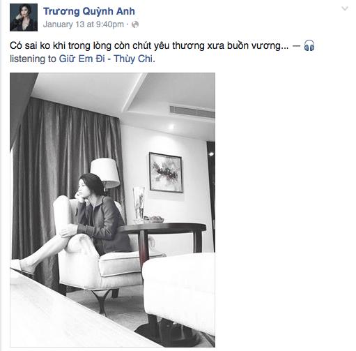 Trương Quỳnh Anh cũng đã từng đăng tải dòng status như ám chỉ việc bỏ nhà đi lần này