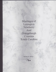Marriages of Lexington, Newberry, & Orangeburgh Counties South Carolina