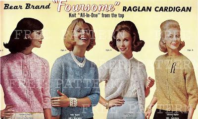 1960's free knitting Patttern - Raglan Cardigan