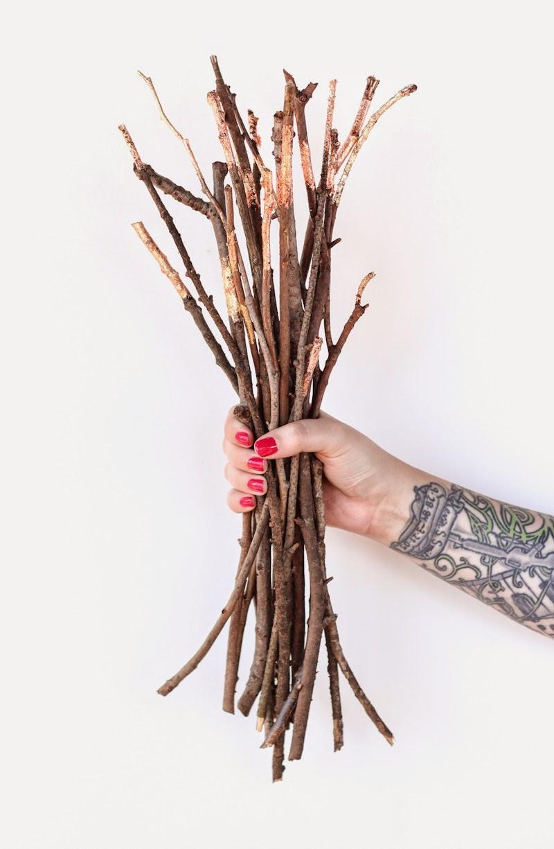 DIY Copper + Gold Foil Branches