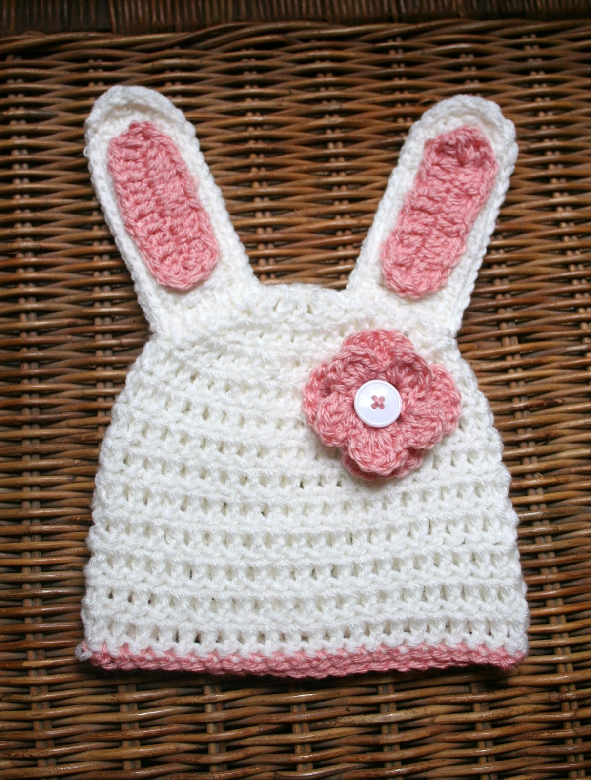 Free Crochet Pattern Easter Bunny Hat : Tampa Bay Crochet: Easter Bunny Hat with Flower - Free Pattern