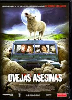 Portada película Ovejas asesinas fotogramailustrado humor terror gore Encerrados en un coche luna llena