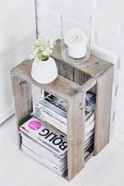 Wooden Crate as Side Table