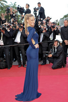 Bar Refaeli in a flowing royal blue Roberto Cavalli gown
