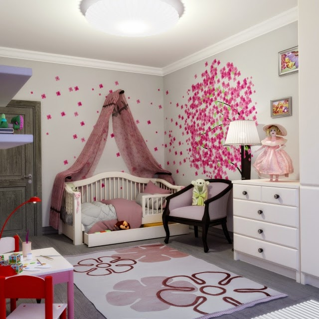 Diseu00f1o de dormitorio para niu00f1a con una pared principal con adornos ...