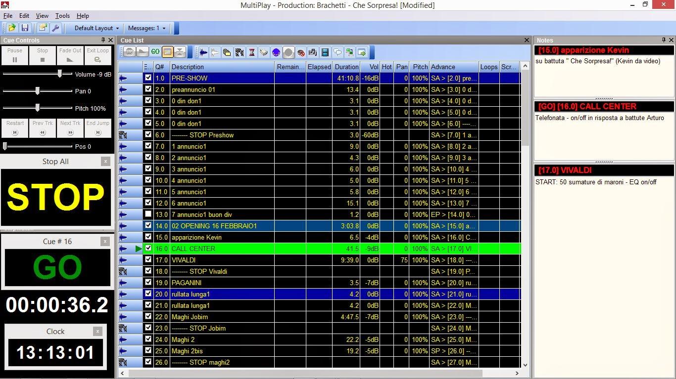 Arturo Brachetti MultiPlay audio cues
