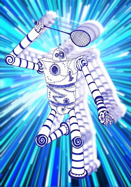 Dessins Fantastiques Robot+jouant+au+badminton+-+vitesse+2