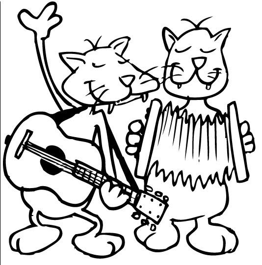 Gatos musicales para colorear