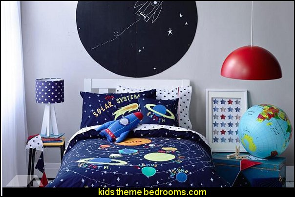 Solar System Applique Embroidery 4 Piece Cotton Kids Duvet Cover Sets