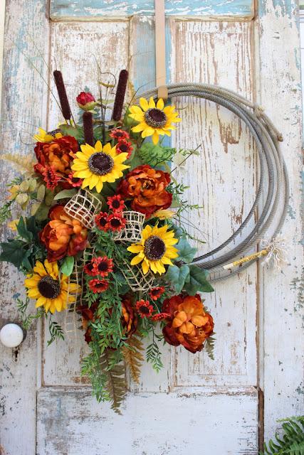 Fall western home decor wreath