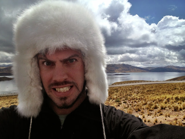 Simon in an alpaca hat, Peru