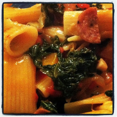 rigatoni with kale and sausage served for dinner