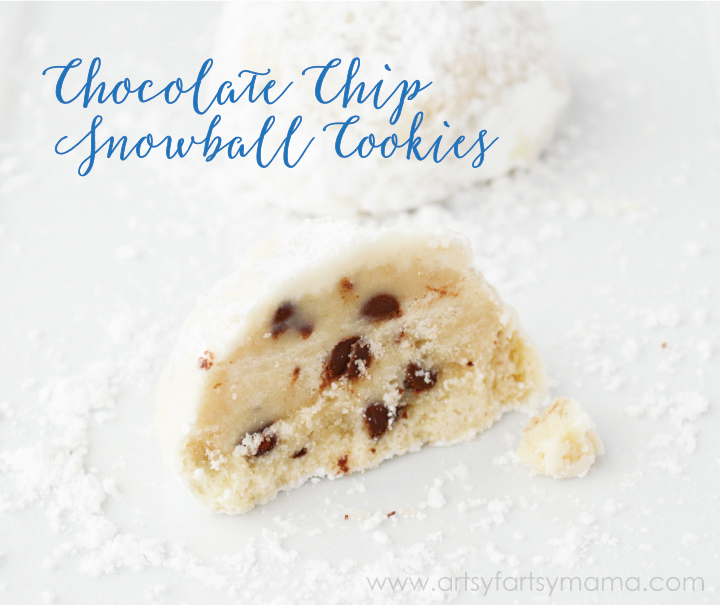 Chocolate Chip Snowball Cookies at artsyfartsymama.com