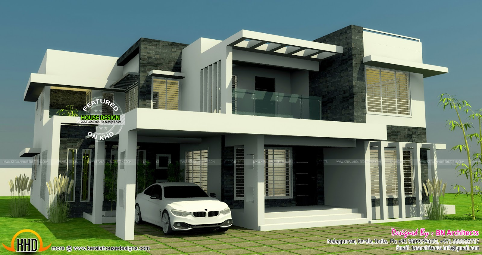 All in one house elevation floor plan and interiors for Contemporary indian house elevations