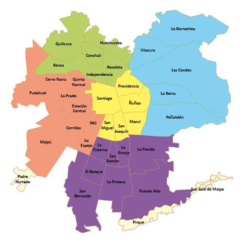 Mapas de chile mapa santiago de chile for Calles de santiago de chile