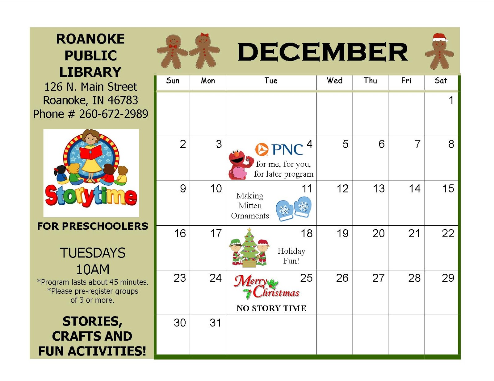 December Calendar Art Kindergarten : Roanoke public library december preschool calendar