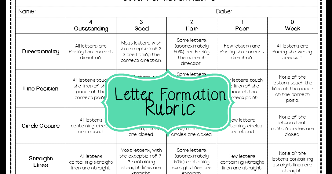 letter formation rubric mrs bs beehive