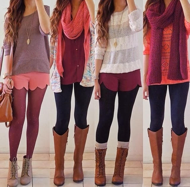 Stylish Colorful Sweaters, Leggings and Suitable Scarfs with Long Boots