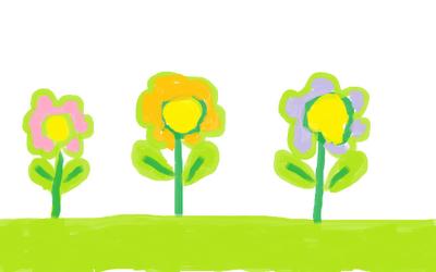 Детский рисунок цветов, растущих в положенном им порядке