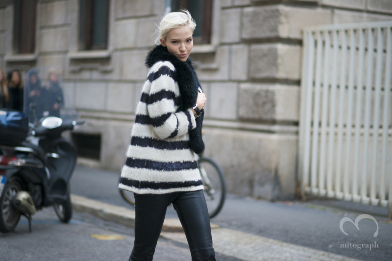 Model Sasha Luss leaves show during Milan Fashion Week 2014 Fall Winter MFW