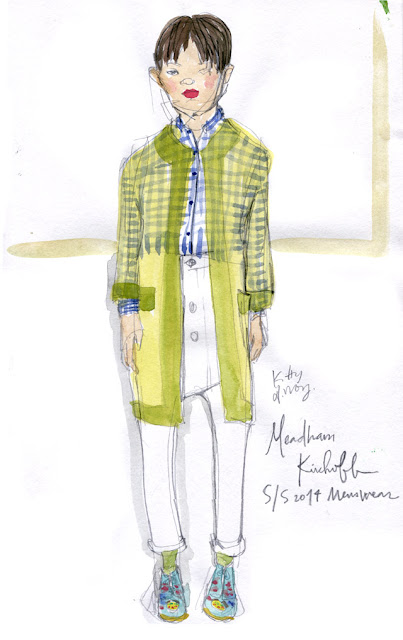 Meadham Kirchoff Menswear SS 2014 sketch by Kitty N. Wong