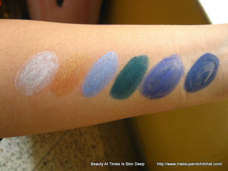 Swatches of Maybelline Vivid and Smooth Eyestudio pencils