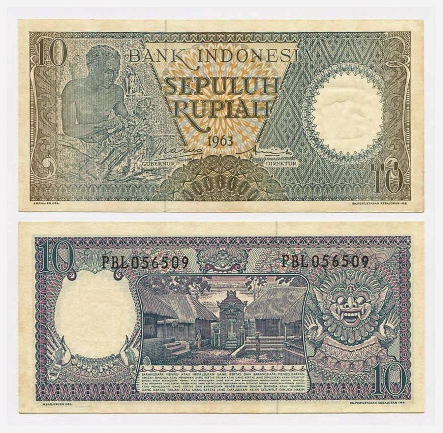 uang kuno Seri pekerja tangan tahun 1963 pecahan 10 rupiah