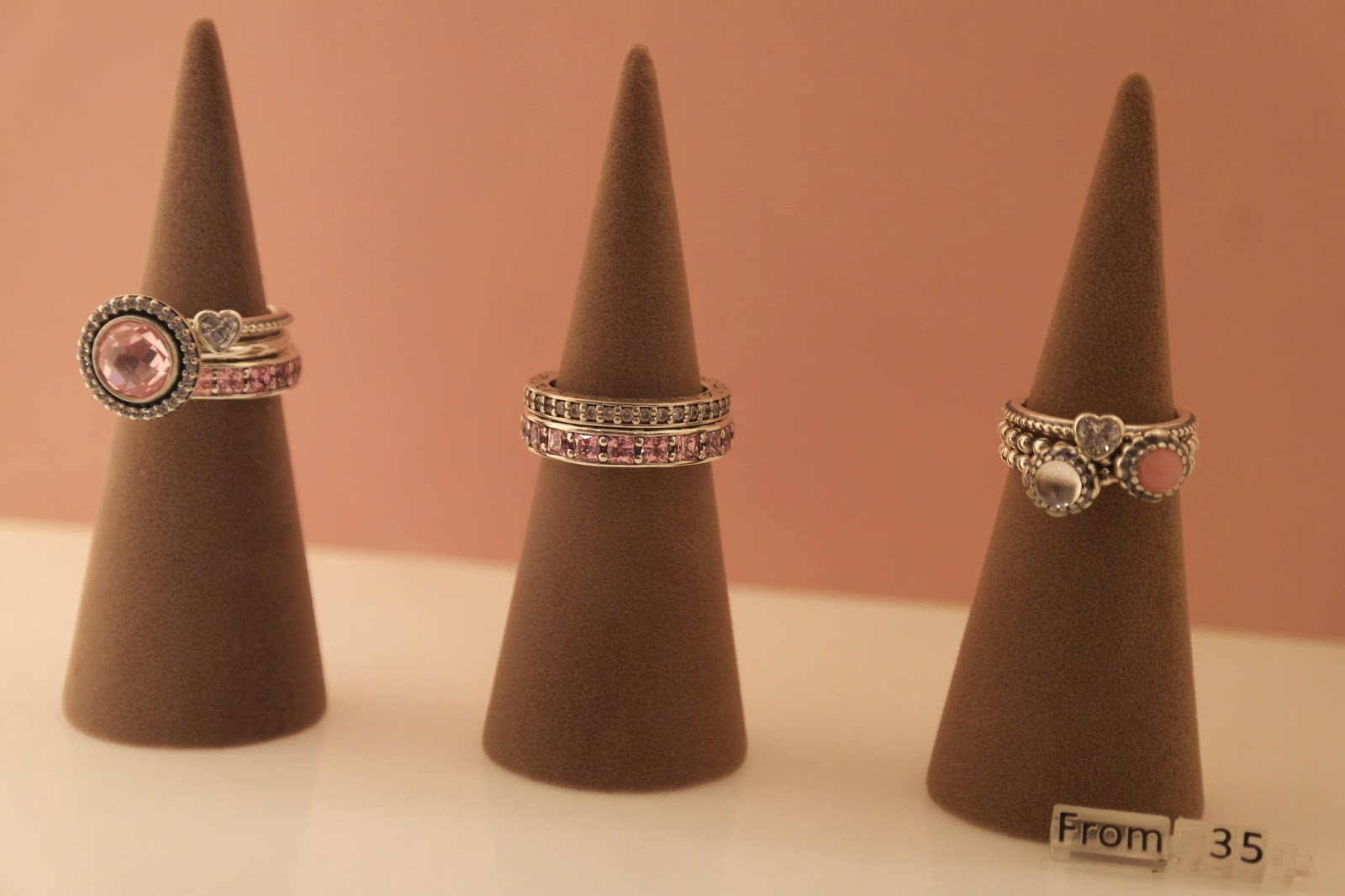Pandora pink stacking rings