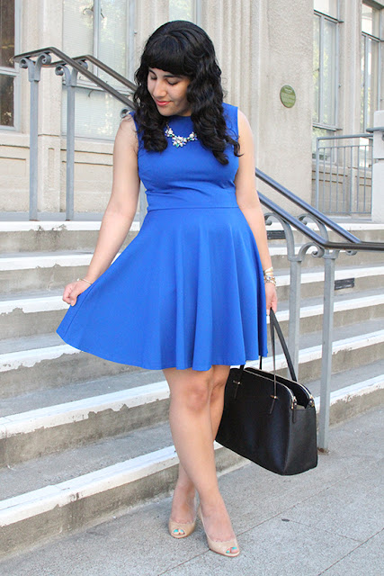 Blue Pleated Skater Dress Outfit