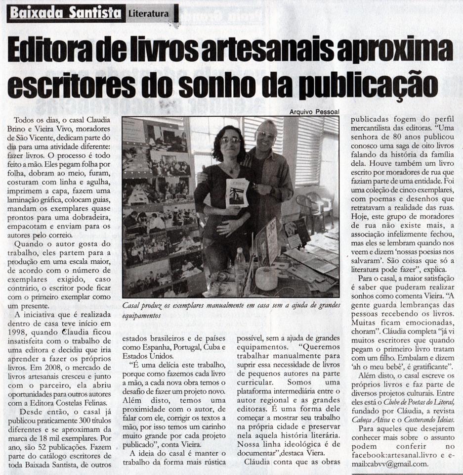LIVRO ARTESANAL COSTELAS FELINAS NO JORNAL GAZETA DO LITORAL